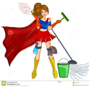 super woman cleaning